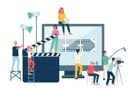 Banner del equipo de producción de películas: gente de dibujos animados con equipo de cine en la filmación de video. Filmar, grabar y editar una película