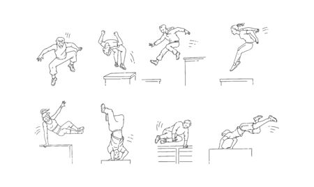 Parkour moves set - cartoon people jumping, spinning and doing back flip, vault and other extreme sport movements. Outline line drawing