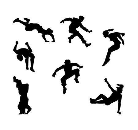 Conjunto de silueta de personas de parkour negro - colección de contorno de dibujos animados planos de hombres y mujeres saltando, rodando haciendo volteretas hacia atrás y otros movimientos de deportes extremos. Ilustración de vector