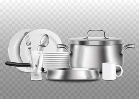 Clean steel and porcelain kitchen utensils and tableware 3d realistic vector illustration isolated on transparent background. Advertising banner for household supplies. Illusztráció
