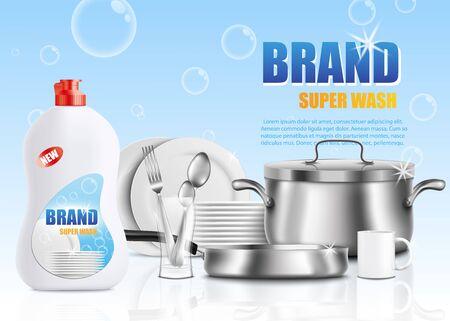 Szablon plakatu reklamy marki mydła do naczyń - biała plastikowa butelka detergentu do naczyń obok stosu świecących czystych naczyń - talerze, przybory itp. Ilustracja wektorowa reklama produktu do czyszczenia.