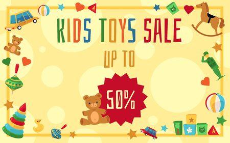 Konzept des Spielzeugverkaufs in einem Geschäft für Kinder, Banner und Flyer-Vorlage. Flache Cartoon-Vektor-Illustration für den Verkauf von Spielzeug.