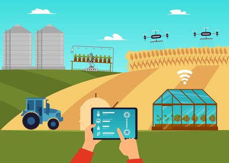 Smart farm and agricultural automation and robotics concept with hand holding gadget and managing remotely robots, flat vector illustration on countryside background. 向量圖像