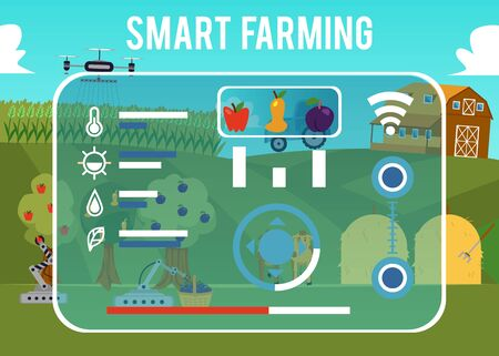 Smart Farming concept with farm management information system app on screen, flat cartoon vector illustration. Agricultural automation and robotics modern technologies.