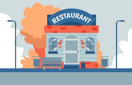 Modern small restaurant building front facade - colorful flat banner with autumn trees and outdoor bench on food place exterior. Vector illustration