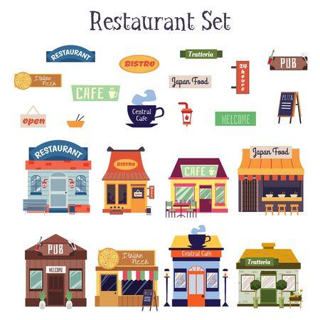 Insieme del segno esterno e facciata dell'edificio del ristorante piatto del fumetto isolato su priorità bassa bianca. Caffè colorato, bistrot, facciate di casa trattoria - illustrazione vettoriale.