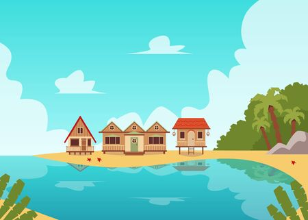 Tropical island coast line landscape with wooden beach house huts near sea water and palm tree forest - blue lagoon summer banner. Flat vector illustration.