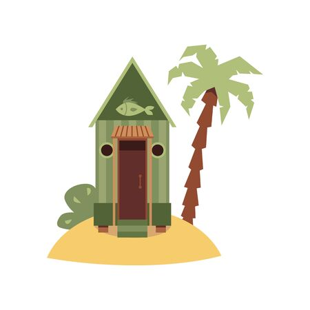 Tiny green beach hut with fish sign on small sand island with palm tree. Fishmonger or fisherman house building isolated on white background - flat vector illustration