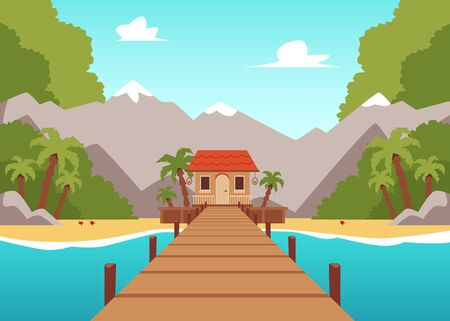 Tropical island landscape with wooden bridge leading to beach house standing on sea shore with mountain and palm tree forest background. Flat vector illustration