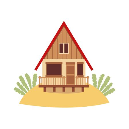 Tropical island beach house isolated on white background - brown wooden hut with red roof standing on sand hill. Holiday bungalow cottage - flat vector illustration.