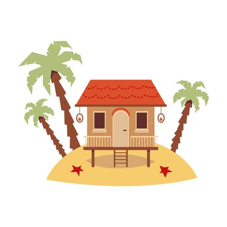 Cute exotic beach house standing on sand island with palm trees - tiny wooden hut with ladder isolated on white background, flat vector illustration. Ilustração