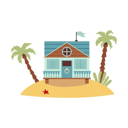 Cute pastel blue beach house standing on tropical sand island with palm trees - small painted wooden house decorated with flag. Isolated flat vector illustration Illusztráció