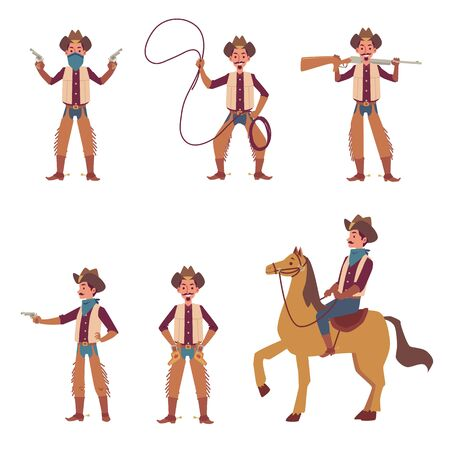 Cartoon cowboy set - man in Wild West costume riding a horse, pointing a gun and throwing lasso isolated on white background. Western rider - flat vector illustration.