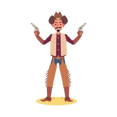 Cartoon man in cowboy costume holding two guns and smiling - isolated flat vector illustration on white background. Western country character posing with gun. Illustration