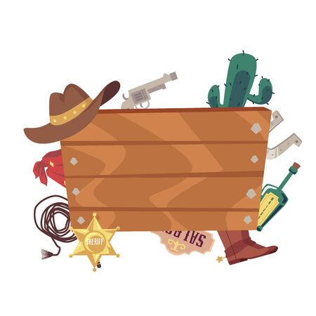 Blank wooden board with cowboy movie accessories - western style wood plank frame with cowboy hat, pistol, whip and other wild west symbols - flat isolated vector illustration Illusztráció