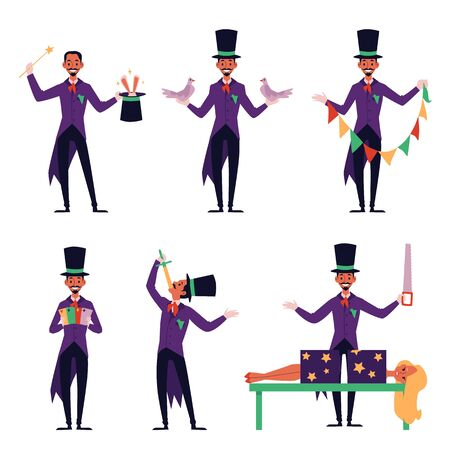 Cartoon magician performing different magic tricks - rabbit in top hat, swallowing a sword, sawing woman in half and other illusions. Isolated flat set vector illustration