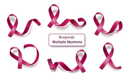 Set of burgundy curly ribbons and loops realistic style, vector illustration isolated on white background. Symbol of multiple myeloma cancer awareness month and solidarity or support sign Ilustrace