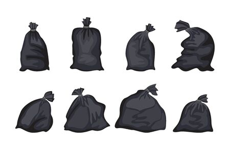 Black trash bag set isolated on white background - flat cartoon garbage disposal bags closed and tied in different shapes and form - vector illustration.