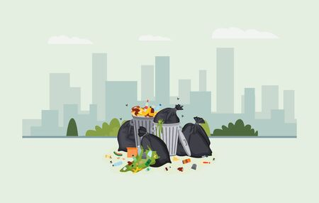 Pile of trash on modern cityscape background. Full dirty garbage cans overflowing with city food waste, plastic bottles and cans and other rubbish, flat vector illustration