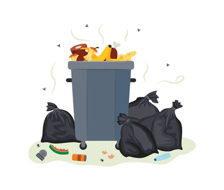 Full metal trash can overflowing with food waste - dirty and smelly garbage container and pile of black plastic bags filled with rotting rubbish. Isolated flat vector illustration.