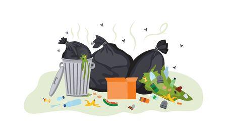 Schmutziger Müllhaufen überfüllt mit stinkenden Lebensmittelabfällen und Plastikmüll. Haufen von schwarzen Müllsäcken und Metalldosen voller Müll - isolierte flache Vektorillustration. Vektorgrafik