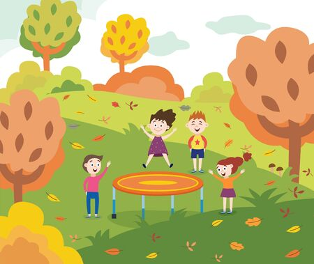 Cartoon children jumping on a trampoline in autumn park - happy kids having fun outdoors with friends bouncing and playing together. Flat vector illustration.