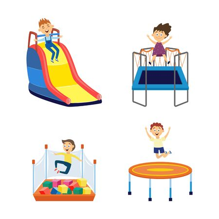 Cartoon children in amusement park playground - isolated set of boys and girl bouncing on trampoline, going down a slide and jumping into cube pit. - flat vector illustration.
