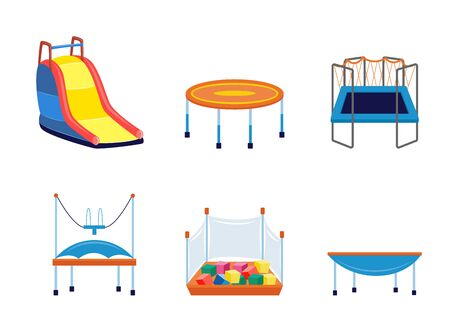 Set of children amusement parks and playgrounds equipment trampolines, slides and playpen with cubes. flat cartoon vector illustrations isolated on white background.