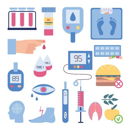 Síntomas y tratamiento de la diabetes: conjunto plano aislado de equipo de prueba de glucosa en sangre, requisito de dieta, frasco de píldoras de insulina y jeringa. Ilustración vectorial.