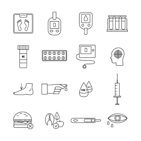 Diabetes icon set - flat black and white line symbols of diabetic medical equipment, medicine, food and blood test measure glucose meter tool. Isolated vector illustration.
