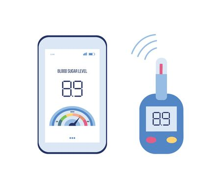Medical diabetes help app with blood sugar level information going from glucose meter to phone screen via wireless connection - flat isolated vector illustration of modern device Ilustracja