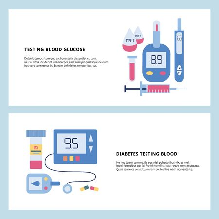 Diabetes banner set - blood glucose testing equipment and medicine in flat cartoon style with text template. Medical glucometer and insulin pills - vector illustration.