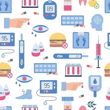 Diabetes seamless pattern - flat vector icons of diabetic illness medicine and blood sugar test equipment, glucose meter, symptoms and food restrictions.