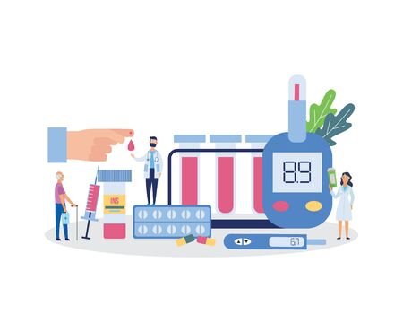 Diabetes banner with cartoon people surrounded by medical equipment, blood glucose level testing tools and medicine. Flat isolated doctors and patient - vector illustration.