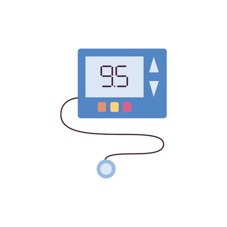 Blue glucose meter isolated on white background - medical diabetes treatment equipment with blood sugar level testing result on small display. Flat vector illustration.