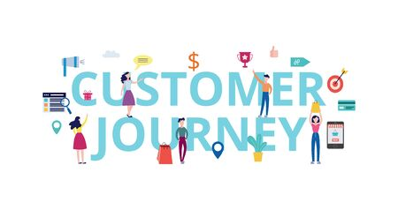 Customer journey banner - cartoon people standing by giant words with shopping bags, online purchase app and commerce icons. Isolated flat vector illustration. Çizim