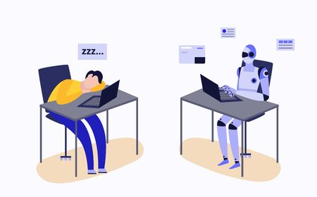 Human and robot working at laptop desk - tired man sleeping and cyborg worker being efficient. Robotic automation concept - flat isolated vector illustration.