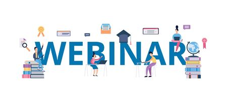Webinar banner - cartoon people surrounding giant word and learning in online university course or video tutorial. Isolated flat vector illustration for internet conference.