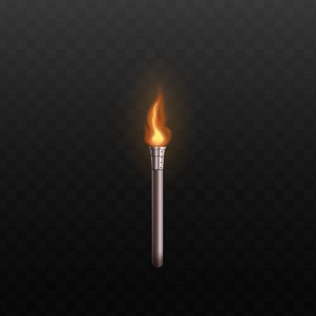 Silver metal torch with realistic fire isolated on dark background - orange flame on steel metallic stick with hot orange flame. Vector illustration.