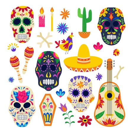 Day of the dead symbol set - painted sugar skull, sombrero hat, floral ornaments and music instruments isolated on white background. Flat vector illustration. Standard-Bild - 133287884