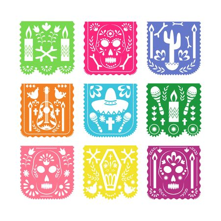 Colorful square papel picado set for Mexican Dia de los muertos or Cinco de mayo holiday celebration isolated on white background. Flat vector illustration. Standard-Bild - 133287895