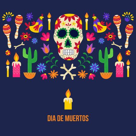 Dia de muertos - black poster for Day of the dead holiday celebration flyer with painted sugar skull, lit candle and traditional ornaments. Flat vector illustration.