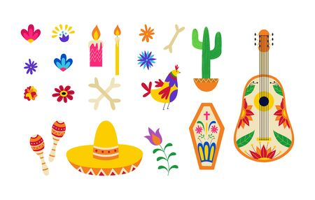 Mexican day of the dead symbol set - colorful sombrero hat, music instrument and traditional Mexico ornaments isolated on white background, flat vector illustration. Illusztráció