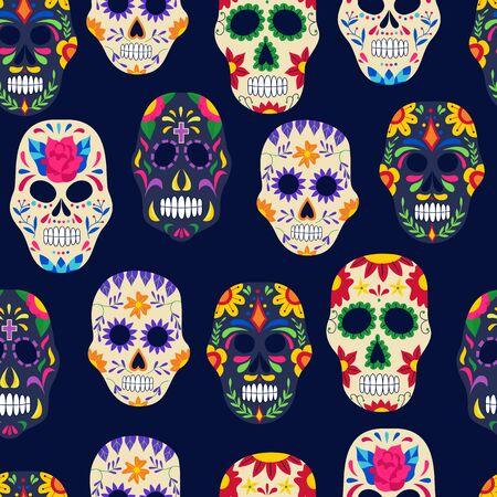 Dia de los muertos pintado de patrones sin fisuras de calavera de azúcar sobre fondo oscuro - Día de los muertos como telón de fondo con símbolos de vacaciones mexicanas. Ilustración de vector plano.