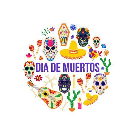 Dia de muertos holiday poster - Day of the dead celebration symbols in circle formation. Sombrero hat, sugar skull and music instruments - flat isolated vector illustration Illusztráció