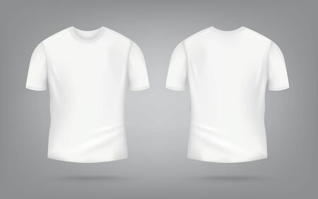 White male t-shirt realistic mockup set from front and back view on grey background, blank textile print design template for fashion apparel - vector illustration 矢量图片