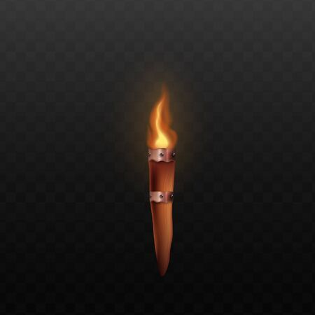 Medieval wooden torch with realistic burning fire isolated on dark transparent background - ancient castle wall mount decoration with bright flame. Vector illustration