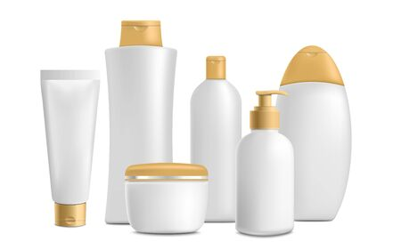 Cosmetic bathroom toiletries realistic mockup set - white and gold shampoo bottle, moisturiser cream, shower gel and hand soap packaging templates. Isolated vector illustration.