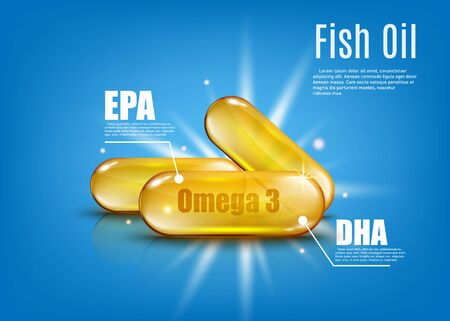 Omega 3 fish oil with EPA and DHA - golden capsule of healthy vitamin supplement poster ad. Shiny gold pills on blue background with text template - vector illustration.