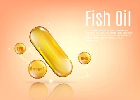 Fish oil vitamin capsule poster ad with text template - golden oval capsule and sphere drops of EPA and DHA supplements on peach background. Vector illustration.